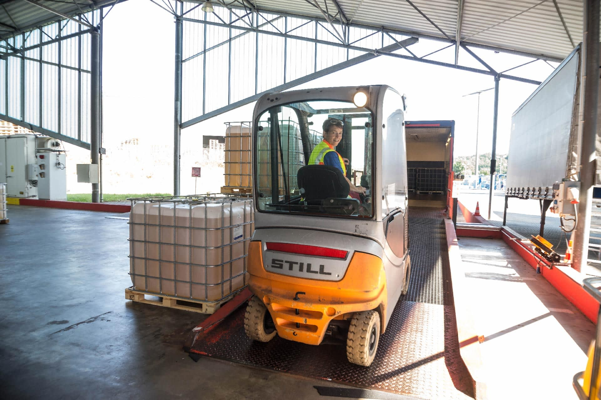 : Employee loads his own truck to transport the finished goods to the logistics centre